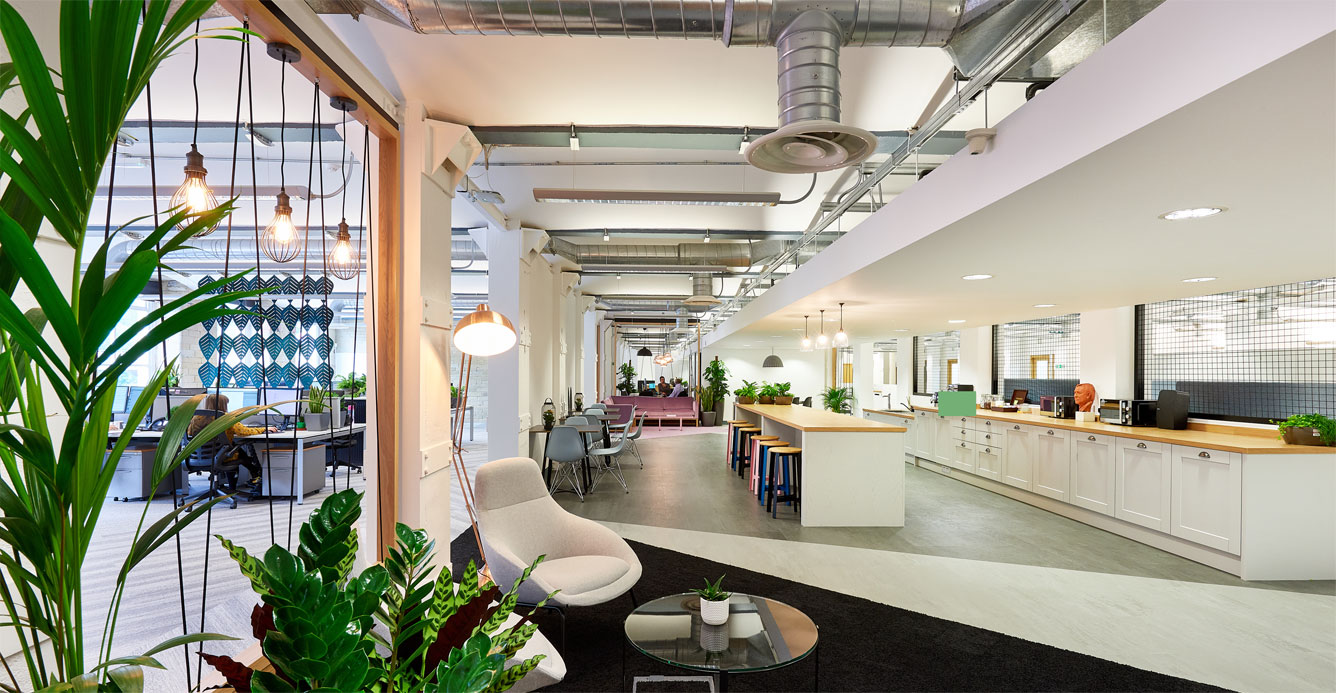 Modern office spaces and communal areas at Dean Clough