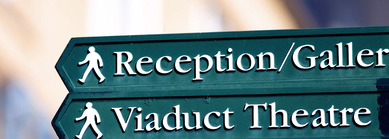Signpost to Dean Clough reception
