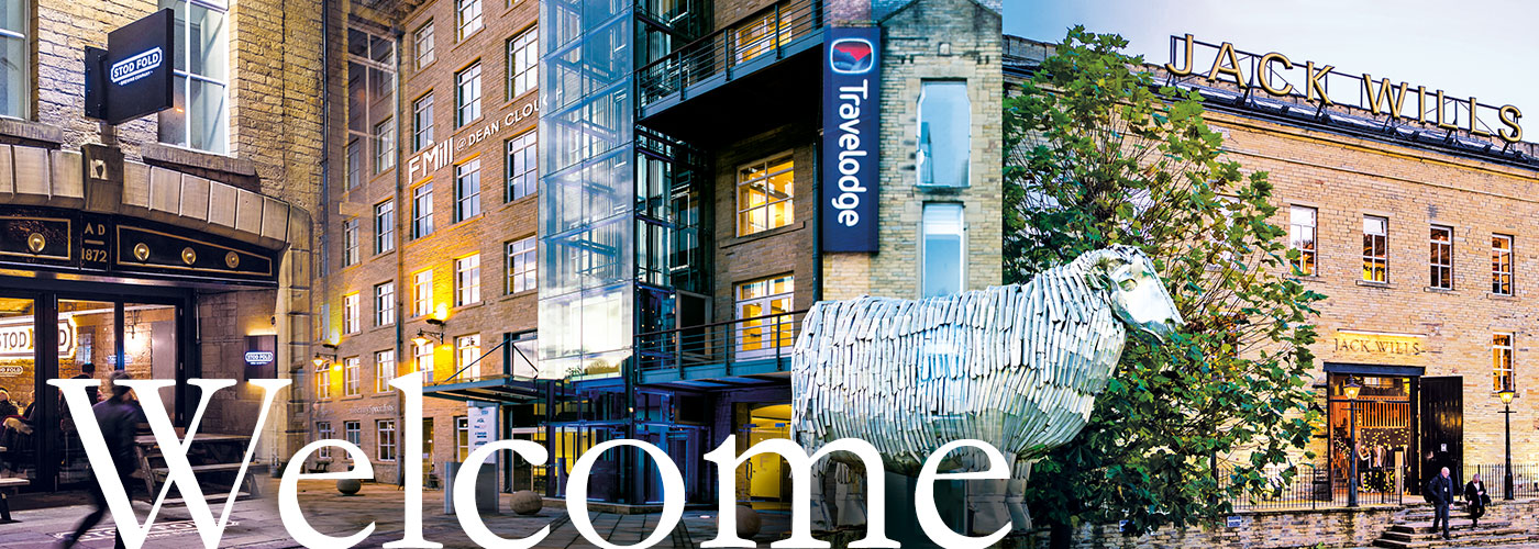 Welcome to Dean Clough montage, F Mill, Jack Wills, Travelodge, Stod Fold