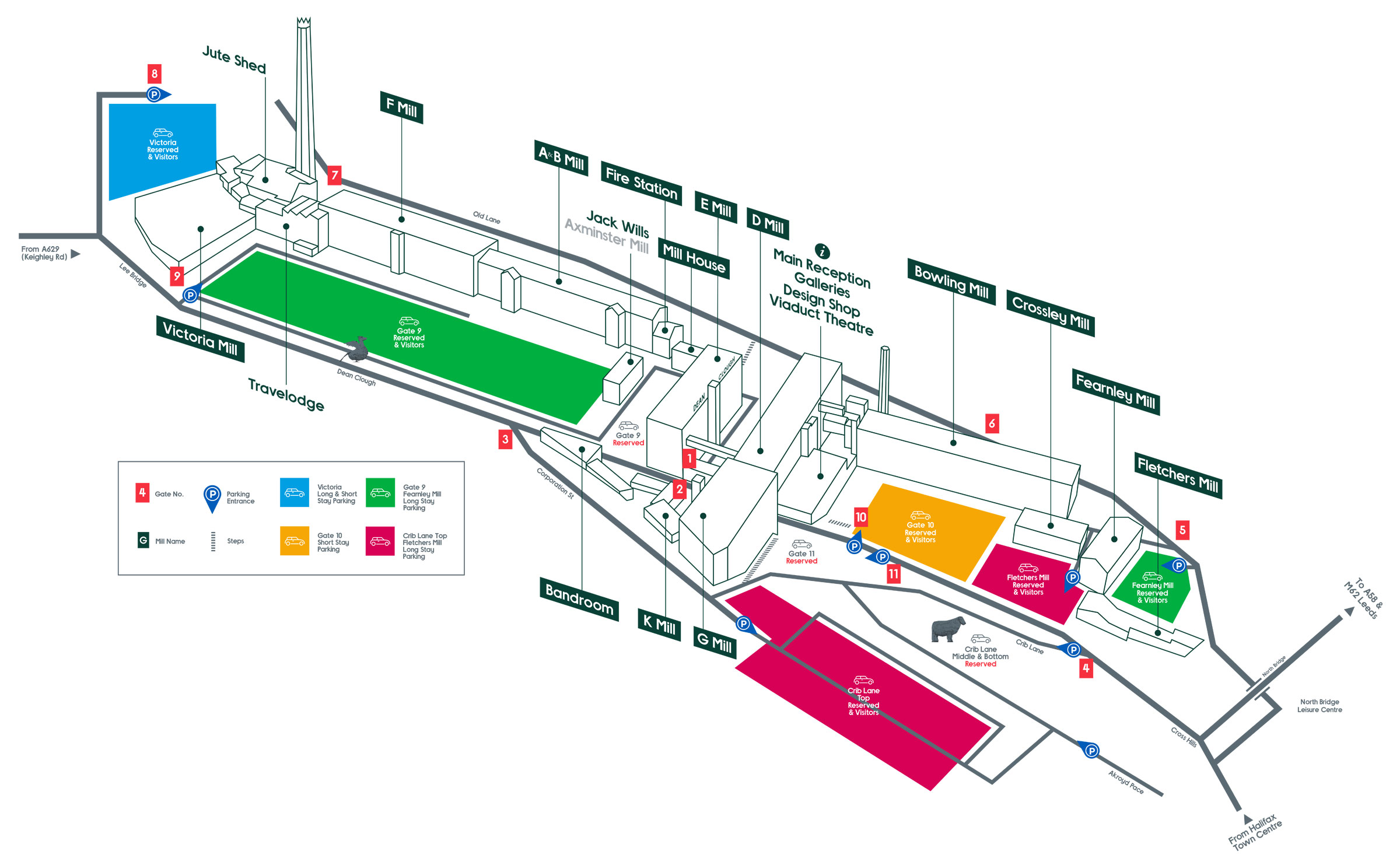 A map of parking at Dean Clough