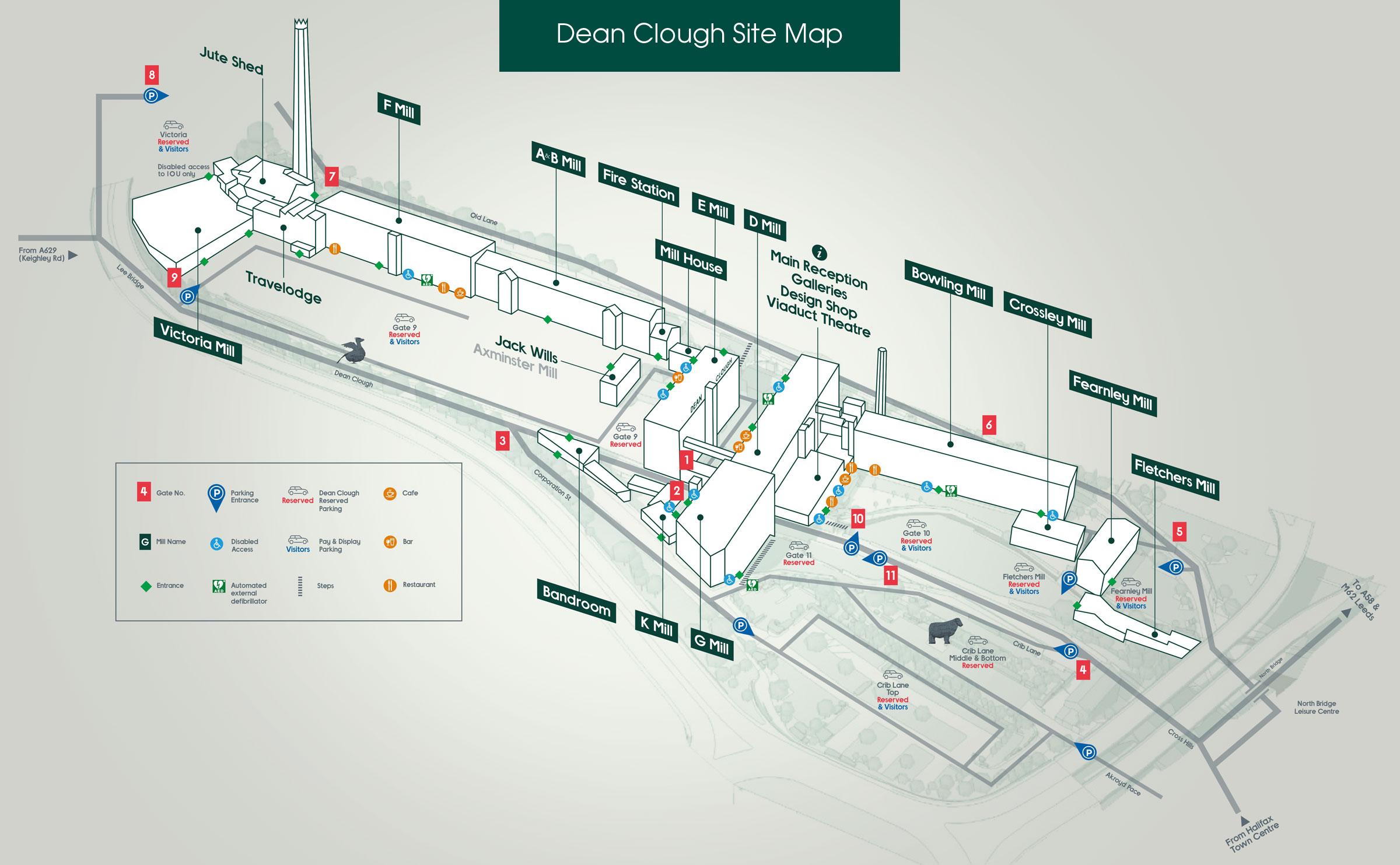 A site map of Dean Clough